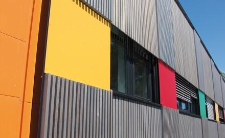 panneaux, façade, rapportée, I, Tech, Bois