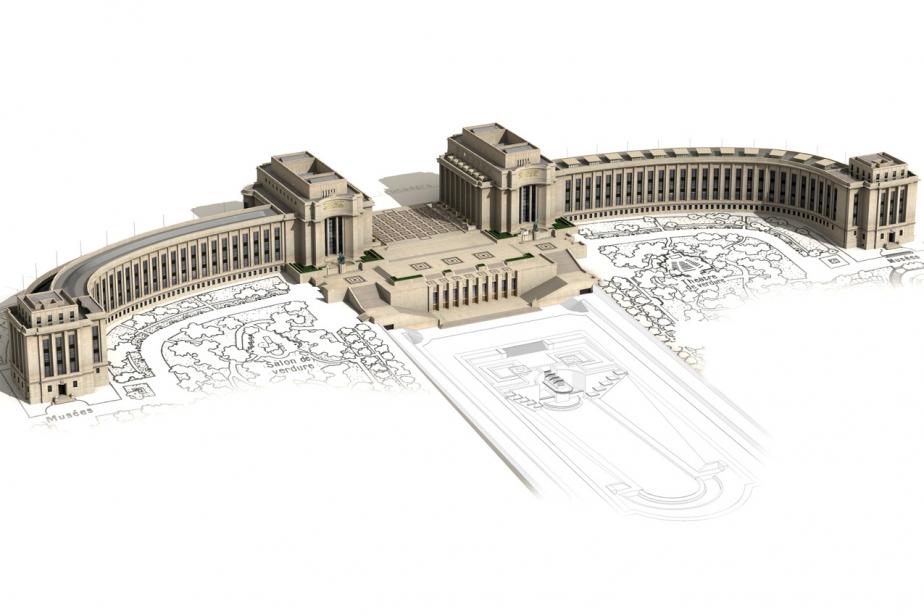 Vue 3D du Palais de Chaillot de 1937 © Aristeas-Hubert Naudeix