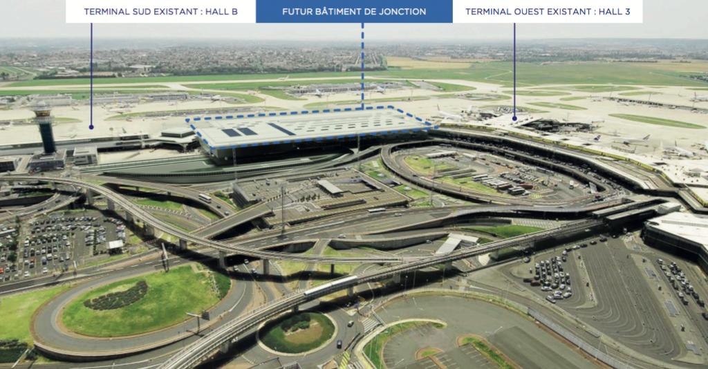 jonction des terminaux Sud et Ouest de l'aeroport Paris-Orly 2