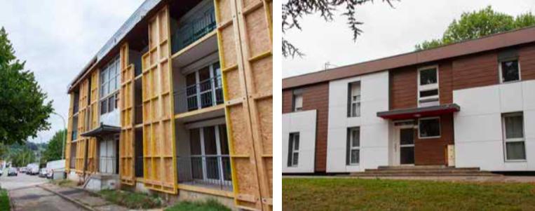 Rénovation thermique par façades rideaux en bois