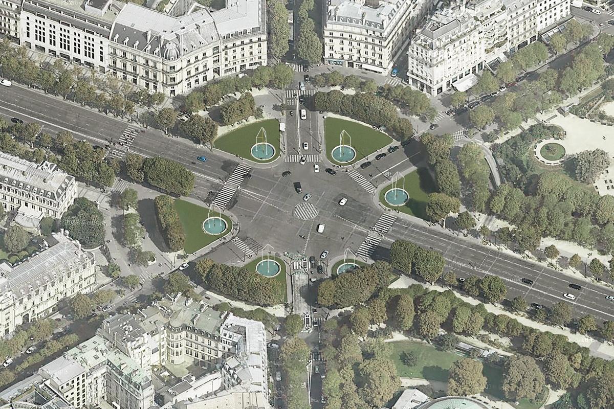 6 fontaines lumineuses sur les Champs-Elysées un projet mené par les frères Bouroullec