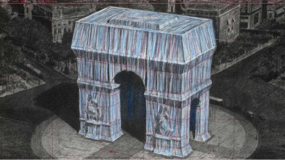 L'arc de triomphe empaqueté : la future œuvre de Christo