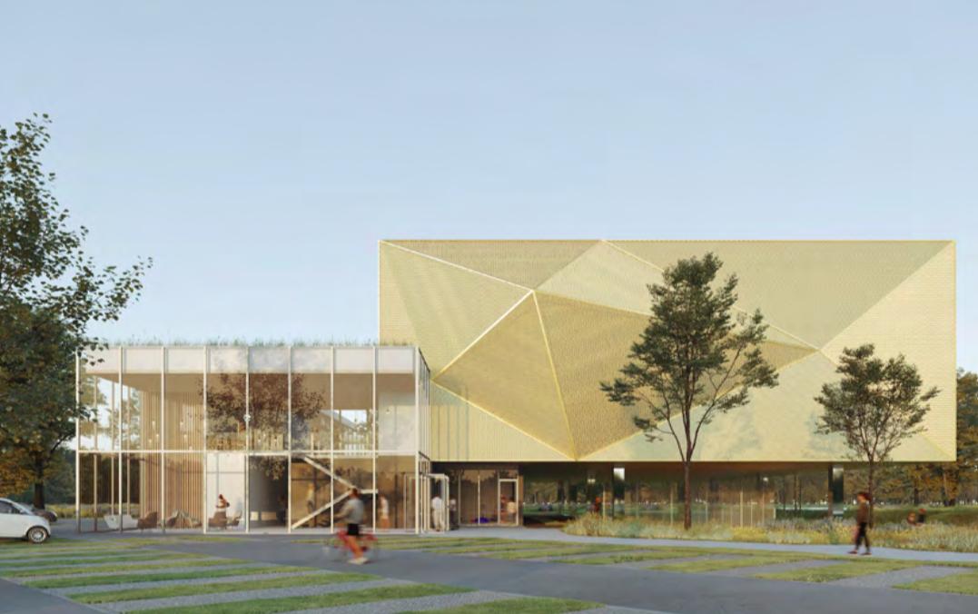 Un gymnase intégré dans les espaces paysagers urbains